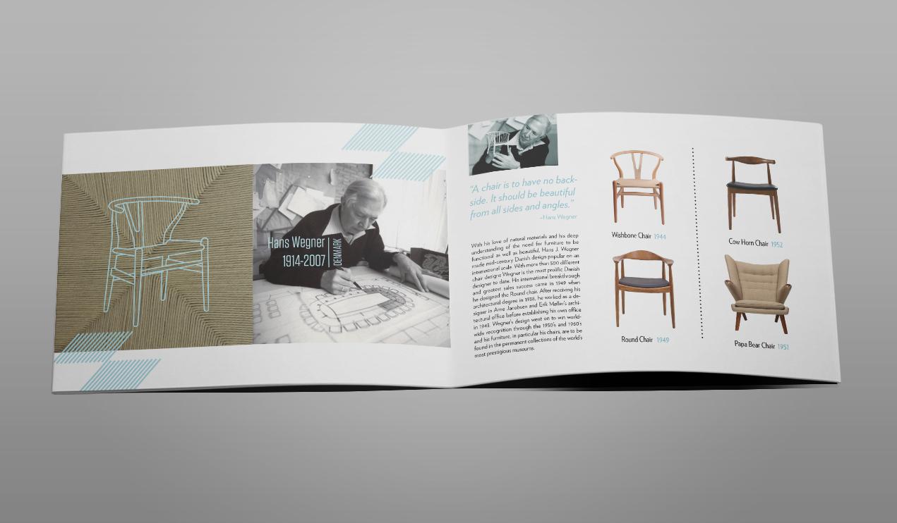 Roberto rosenman graphic design chair design brochure for Interior decoration brochure design